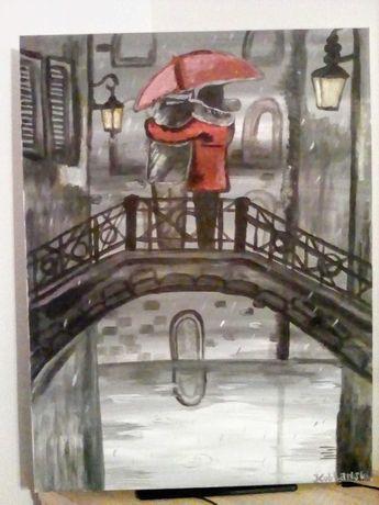 Sprzedam obraz Zakochani w Deszczu