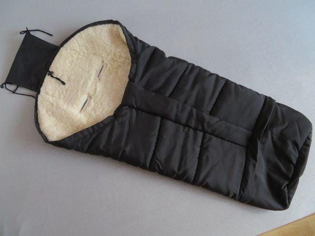 Śpiwór mumia OWCZA WEŁNA, BDB, czarny, 2w1, 90-110 cm