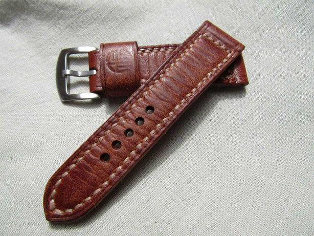 Skórzany pasek do zegarka 24 mm - skóra , ręcznie robiony, Vintage !