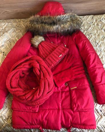 Модный лук: зимняя куртка,пальто+шапка+снуд+перчатки,р.40-44, в идеале