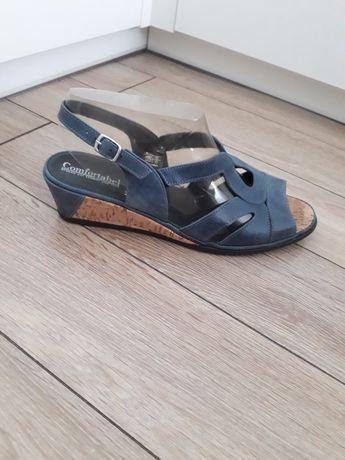 Sandały granatowe korek Comfortabel