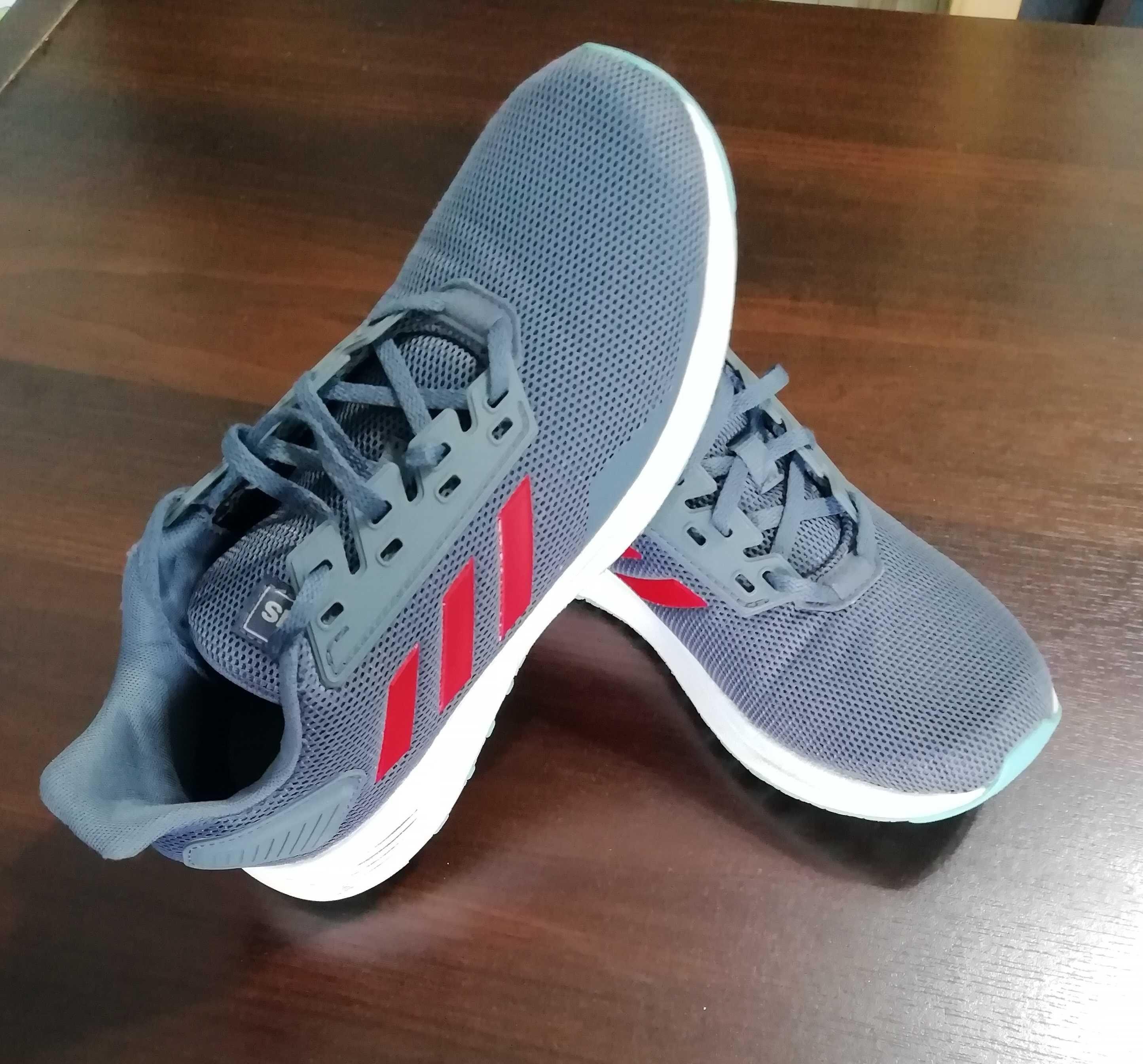 Buty dla dzieci adidas Duramo 9 K szaro-czerwone r.38