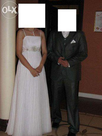 PILNIE - TANIEJ! Elegancka suknia ślubna: rozm. 38, 170 cm + welon