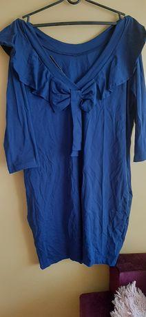 Granatowa sukienka z kokardą na plecach xxxl