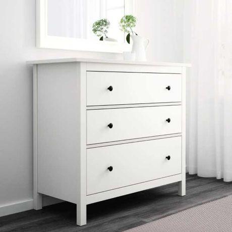 Ikea Hemnes komoda 3 szuflady 108x96x50 cm drewno biała bejca pojemna
