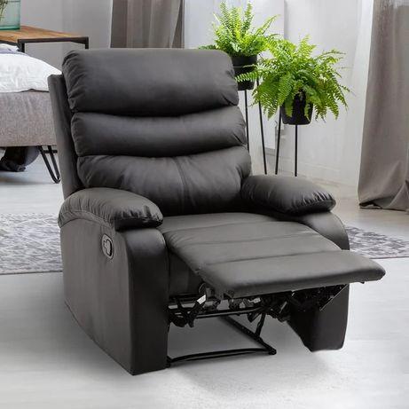 Fotel Homcom Relax z odchylającym się oparciem i podnóżkiem z czarnej