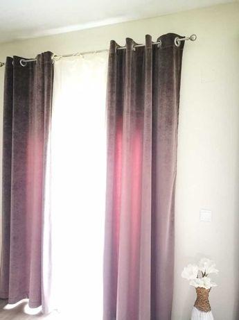 Par de cortinados em veludo castanho (a loja do gato preto)