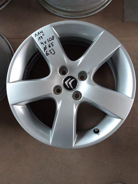 114 FELGI Aluminiowe Citroen R 17 4x108 otwór 65mm ŁADNE