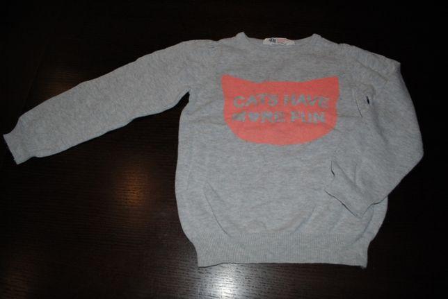 33-> dzianinowy sweterek H&M r.110/116 4-6Y JAK NOWY