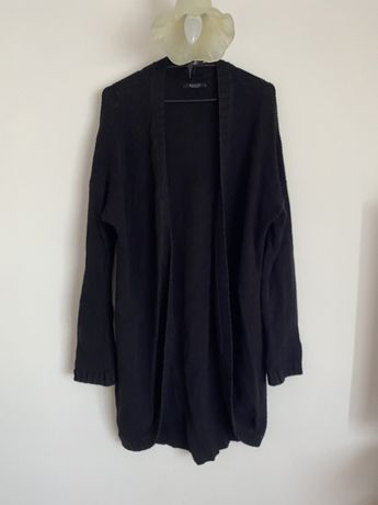 Dlugi sweter pleciony czarny Mohito