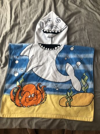 Детское пляжное полотенце акула, пончо