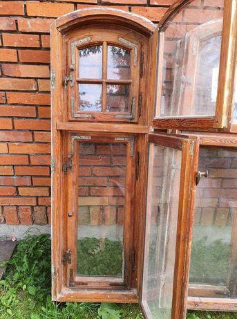 Stare skrzynkowe okno łukowe Vintage szprosy