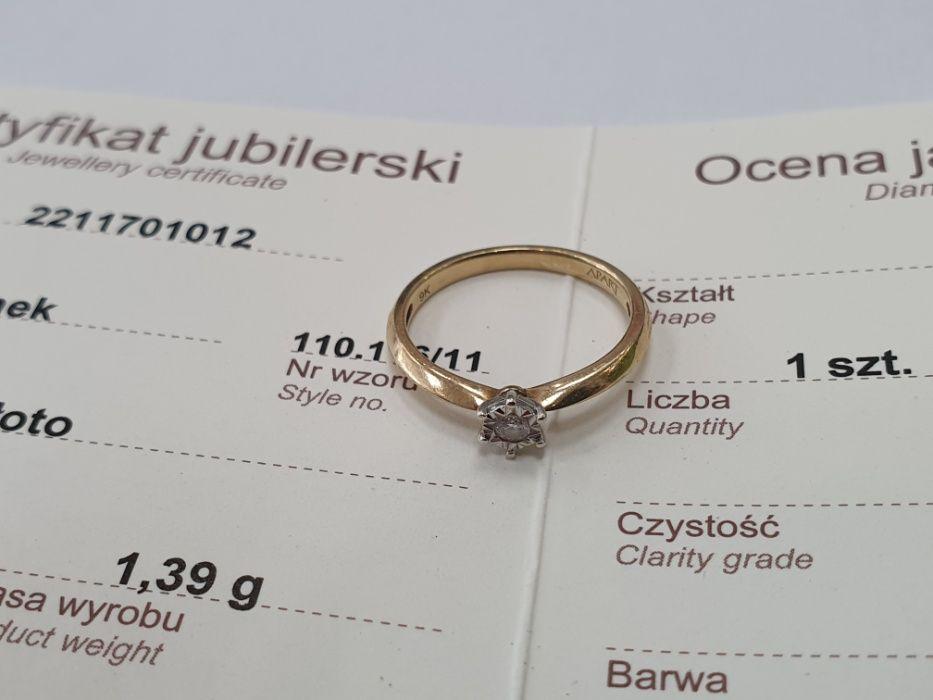 Apart! Piękny złoty pierścionek/ 375/ 0.05 CT/ Certyfikat/ 1.39g/ R11