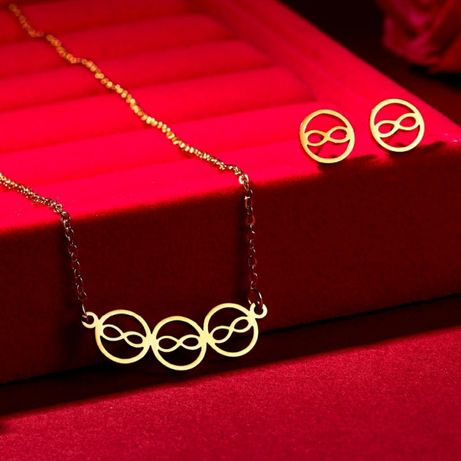 Modny Złoty Zestaw Biżuterii NIESKOŃCZONOŚĆ