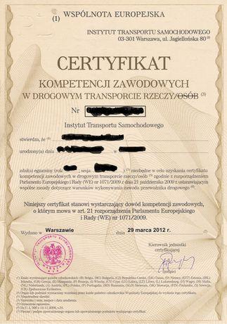 Certyfikat Kompetencji Zawodowych Rzeczy lub Osób także spedycje