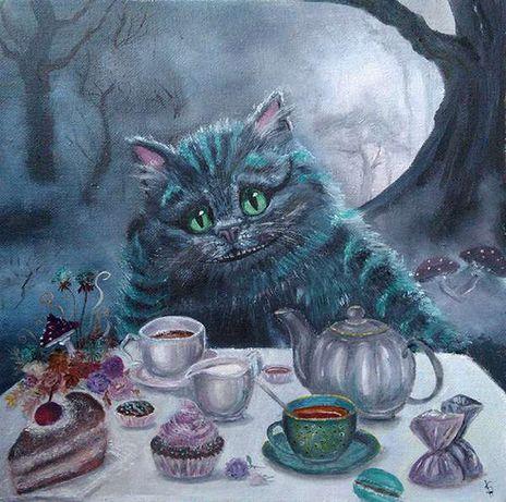 Картина Чеширский кот за столом.