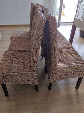 Conjunto de 6 cadeiras de corda