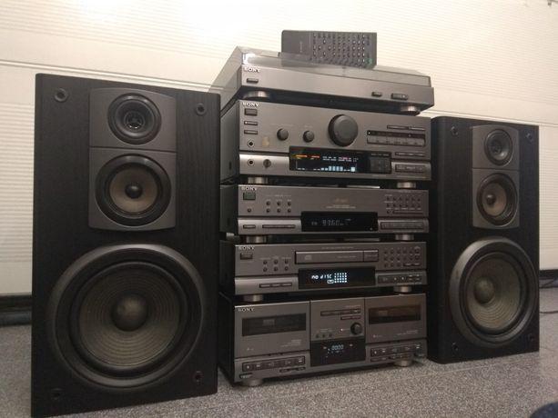 Sony LBT-D607-D707, wieża hi-fi. Gramofon, kolumny, pilot.