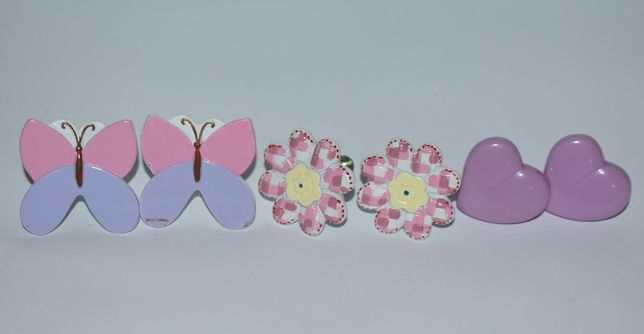 набор 6 ручек бабочки цветочки сердечки пластик металл винтаж