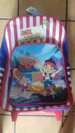 Mochila Escolar com rodinhas Disney Jake e Piratas como Nova com rodas
