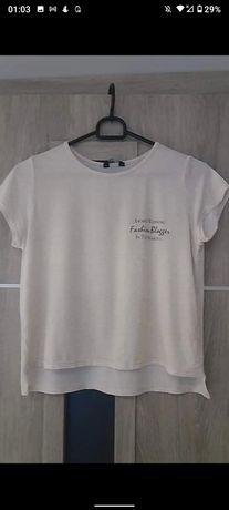 T-shirt,bluzka biała błyszcząca krótki rękaw