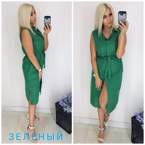 Платье рубашка халат 46-48р хлопок с карманами.