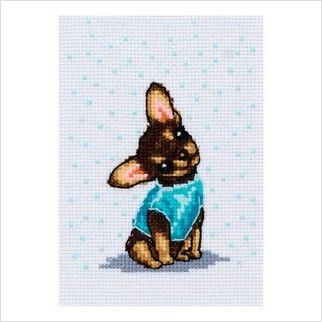 Набор для вышивания картины нитками мулине. Собачка