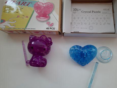 Пазлы объёмные кристалл сердце и котик