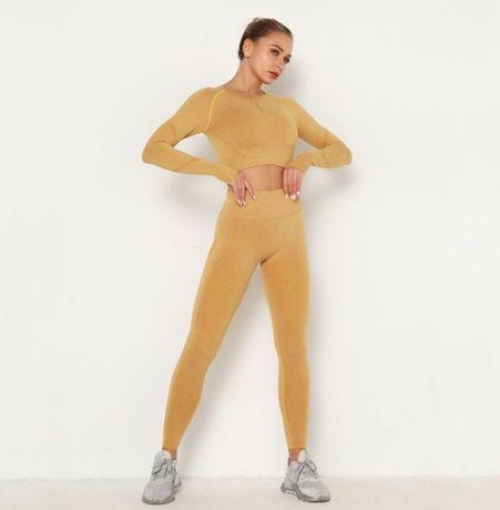 Бесшовный костюм для фитнеса йоги лосины и рашгард горчичный