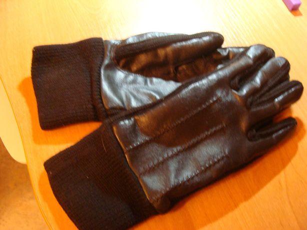 Мужские перчатки новые зимние черные, искуственная кожа-шерсть,разм