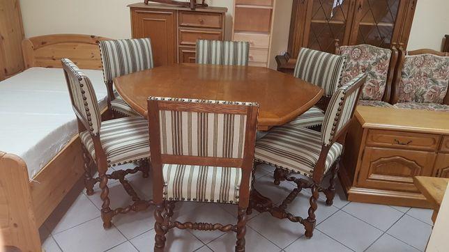6 antycznych krzeseł + stół szesciokątny