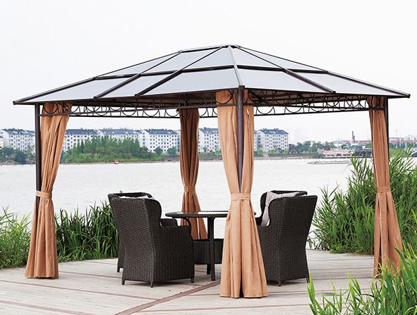 Pawilon ogrodowy stalowy - aluminiowy z poliwęglanu 3x3,6m + zasłony