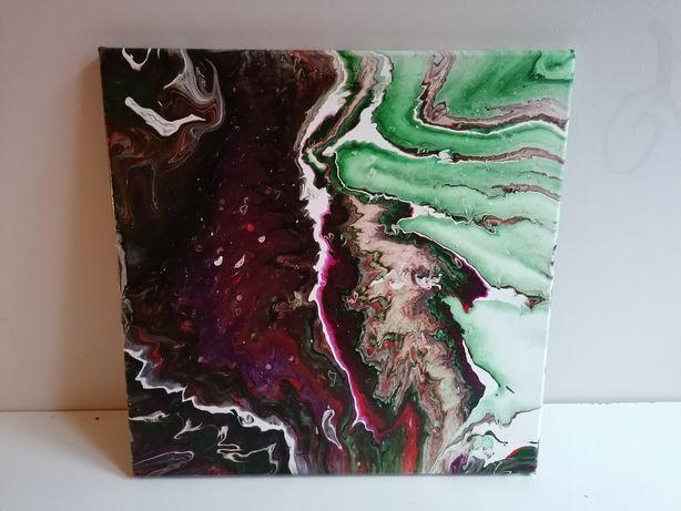 "Obraz ""Przekrój"" farby akrylowe na płótnie metoda pouringu abstrakcja"