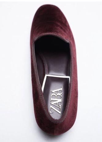 Туфли лоферы из бархата zara