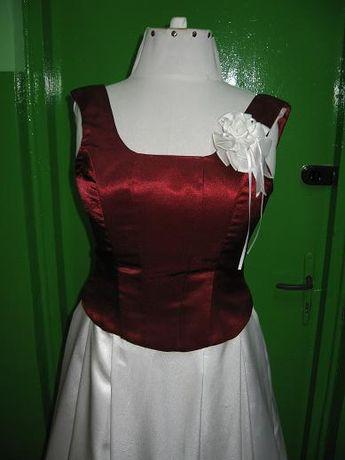 Suknia ślubna biało-bordowa r.40