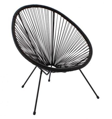 Krzesło ogrodowe Acapulco Rattanowe Fotel Ażurowy Czarny