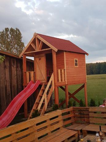 Domek dla dzieci , Drewniany + ślizg 3m.