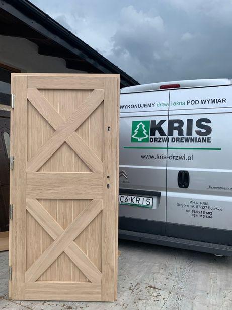 Drzwi zewnętrzne dębowe ocieplane wiejskie grube 10 cm pasywne KRIS