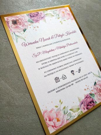 Zaproszenia ślubne C4 papier lustrzany złoty A5 fioletowe piwonie