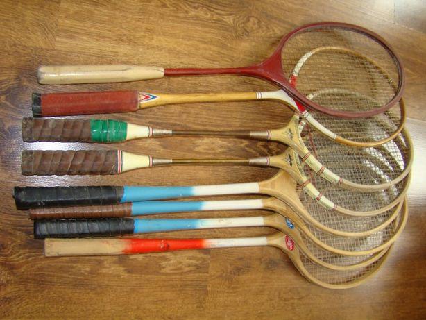 Cena za kpl. 8szt, stara rakietka paletka do badmintona prl