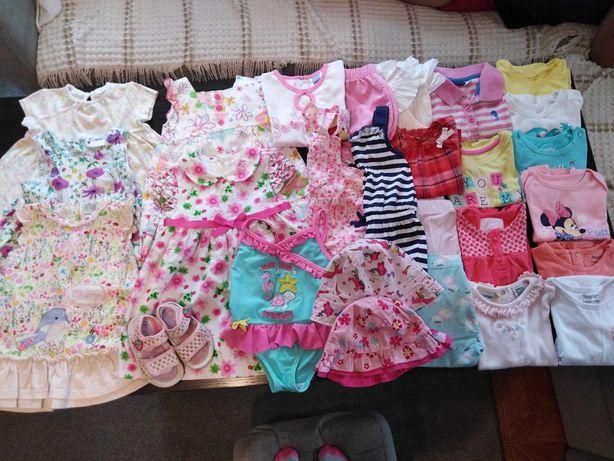 Zestaw ubranek dla dziewczynki,lato, sukienki,bluzki,sandałki,80-86-92