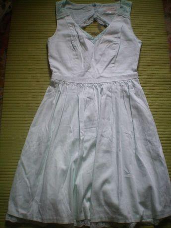 Платье нарядное выпускное бирюзовое S-M Франция с открытой спиной