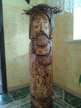 rzeźba w drewnie Chrystus Frasobliwy