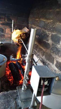 Espeto de inox com motor e adaptação para churrasqueira