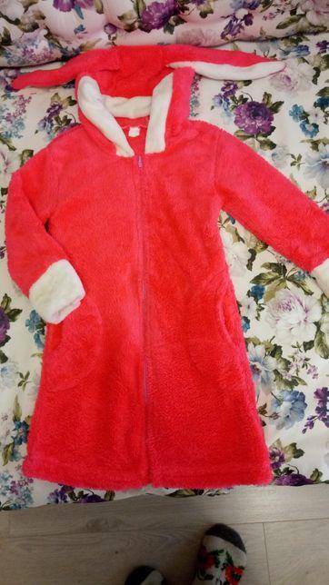 Теплый махровый халат для девочки