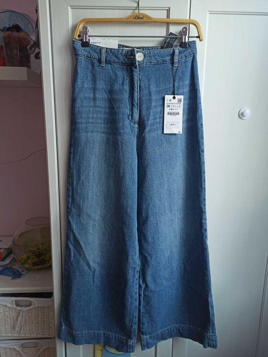 Spodnie jeansowe szerokie ZARA Szczecinek - image 1
