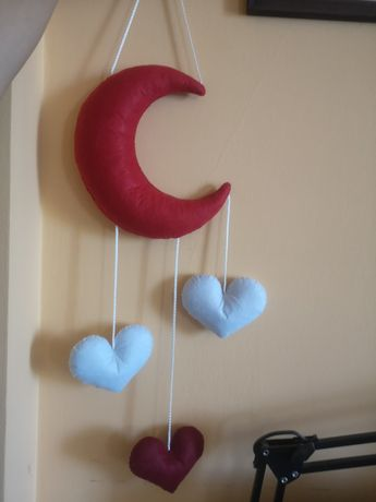 Girlanda księżyc serduszka pluszowa zawieszka do pokoju dziecka nowa