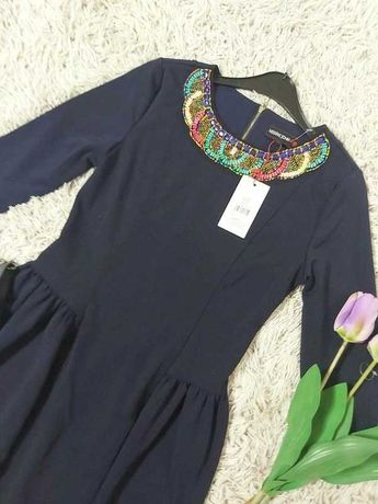 Cudna jedyna taka granatowa sukienka koraliki 36