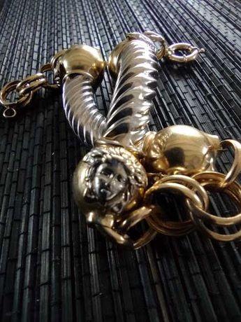Bransoletka złoto  żółte i białe 585 meduza