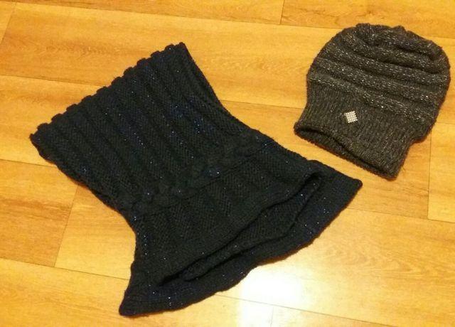 Komin czapka, zestaw zimowy